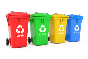 Red, Green, Yellow and Blue Recycle Bins with Recycle Symbol. 3d Rendering