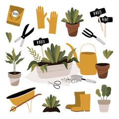 Gardening tools. Spring time poster