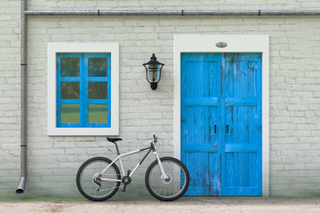 Bicycle Parked in front of Retro Vintage European House Building, Narrow Street Scene. 3d Rendering