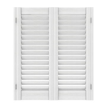 Retro White Wooden Window with Sutters Jalousie. 3d Rendering