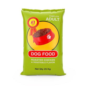 Dog Food Bag Package Design. 3d Rendering