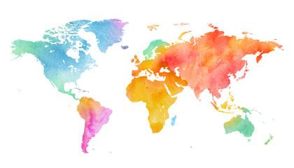 Wall Mural - Mehrfarbenaquarell-Weltkarte auf weißem Hintergrund.