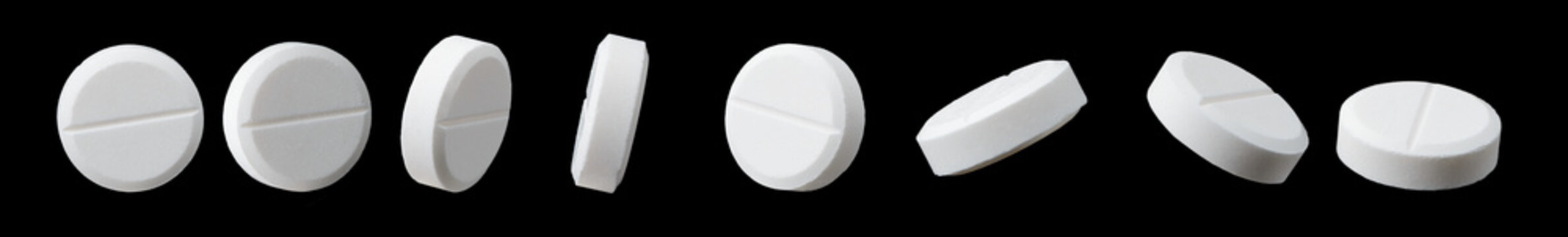 Different angles of white pill