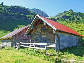 Rural traditional architecture and livestock farms on the slopes of Alviergruppe and in the Rhine valley - Canton of St. Gallen, Switzerland
