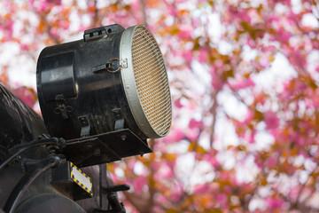 Sakura Train Travel / Detail of nostalgic steam locomotive headlight at pink cherry blossom background in spring (copy space)