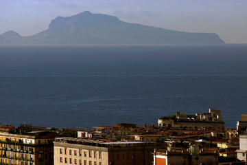 Naples (Italy). Profile of the island of Capri from the city of Naples.