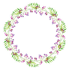 a bright wreath of branches of purple flowers and green leaves, watercolor illustration.
