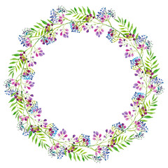wreath of branches of purple flowers and green leaves, blue berries, watercolor illustration.