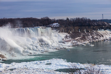 Niagara Falls CANADA - February 23, 2019: Winter frozen view at the American side of beautiful Niagara Falls cower with snow and ice