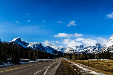 Mountain peaks rise out of the prairies, Kananaskis Country, Alberta, Canada