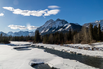 Kananaskis River in front of Mount Kidd, Kananaskis Village, Alberta, Canada