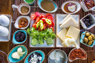 Traditional delicious Turkish breakfast. Food concept photo.