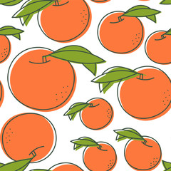 Peach seamless pattern. Hand drawn fresh exotic fruit. Vector sketch background. Color doodle wallpaper