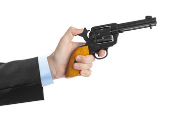 Hand with revolver