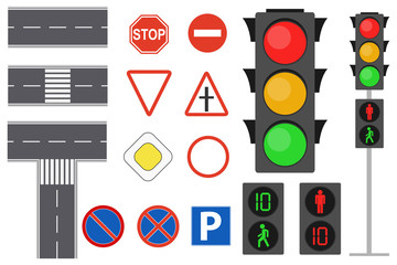 Illustration of info graphic traffic signs icons set concept. Traffic sign and lights realistic. Flat road signs set. Road icons. Fotomurales