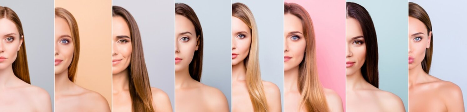 Beauty and health concept she her beautiful pretty eight ladies half face healthy skin hair looking straight in the camera difference concept isolated grey pink pastel blue backgrounds