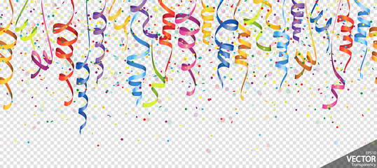 seamless confetti and streamers party background