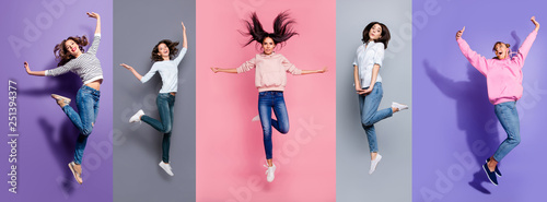 Wall mural Full length body size view five different nice dreamy lovely attractive charming positive thin slim people having fun isolated over pastel pink violet purple grey background