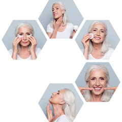 Collage close-up composition of five hexagonal nice attractive cheerful granny doing effective useful facial procedures therapy treatment isolated over gray blue background
