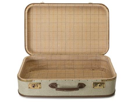 Opened shabby vintage suitcase isolated