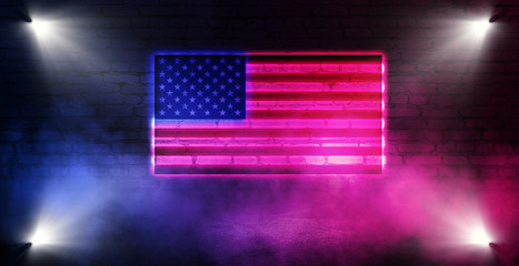 Neon American flag on the background of an old brick wall. Neon multicolored light smoke