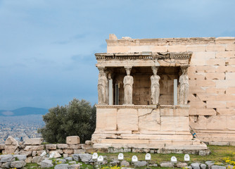 Athens, Greece - February 23, 2019: The Old Temple of Athena on the Acropolis of Athens, Greece.