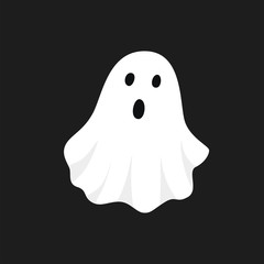 Vector illustration of white ghost. Halloween spooky monster, scary spirit or poltergeist flying in night.