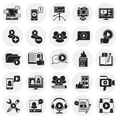 Video Blog icons set on circles background for graphic and web design, Modern simple vector sign. Internet concept. Trendy symbol for website design web button or mobile app
