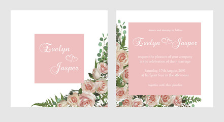 Set for wedding invitation, greeting card, save date, banner. Fern leaf, boxwood, brunia and eucalyptus, pink rose. Square, round on white and pink square background. Vector watercolor rustic