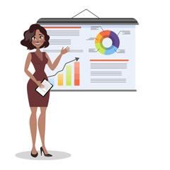 Woman making business presentation. Presenting business plan