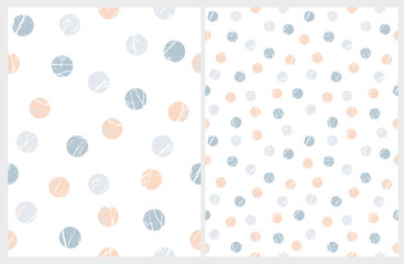 Simple Polka Dots Vector Patterns. Blue and Salmon Pink Marble Circles Isolated on a White Background. Funny Abstract Geometric Design. Falling Confetti of Round Shape. Pastel Color Repeatable Layout.