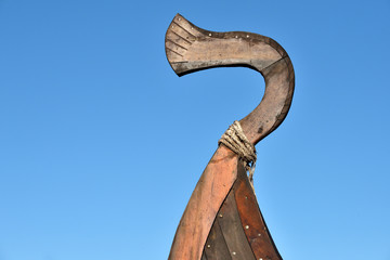 Detail of Old Wooden Viking Boat