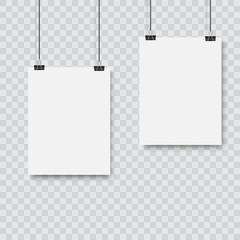 Realistic black vector blank frame hanging . Vector.