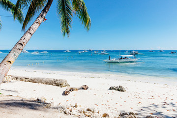Idyllic Alona Beach with white sand, Philippines