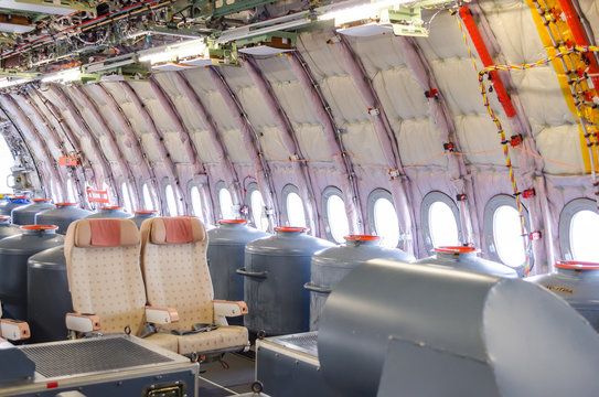 View on the cabin of the with seats aircraft, without interior trim, for test flights