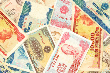 some vietnamese dong bank notes indicating growing economy