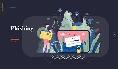 Technology 1 - Phishing - flat vector concept digital illustration of phishing scam metaphor. Hacker fraud protection, password steal, data phishing. Creative landing web page design template