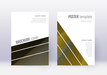 Geometric cover design template set. Gold abstract