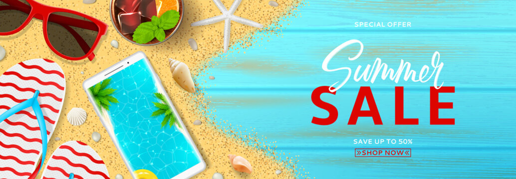 Summer sale promo web banner. Top view on red sun glasses, seashells, cocktail, smartphone, flip flops and sea sand on wooden texture. Vector illustration with spesial discount offer.