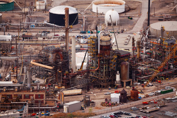 Oil refineries during day time, Salt Lake city, US