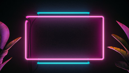 Neon light sign board background. 3d modern illustration. Neon elements and plants. Wall mural