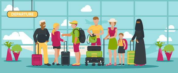 Airport vector traveling people waiting flight with luggage in departure terminal illustration backdrop passenger character on vacation background man woman and kid with baggage