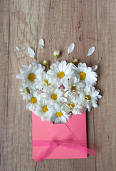 Beautiful Spring flowers. Chamomile in pink envelope on a wood background. Greeting card. Easter wallpaper. March 8th, mother's day, International Women's Day. Letter. I love You. Top view. Love mom