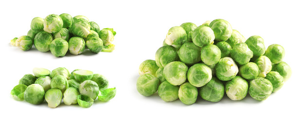 Aluminium Prints Brussels Set of fresh Brussels sprouts on white background