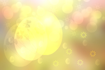 Happy easter background. Abstract yellow pink background texture with yellow stars and colorful easter eggs and a bright pastel spring backdrop. Space for your design. Beautiful texture.