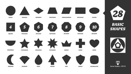 Vector basic simple silhouette shapes set. Geometric figures: circle, triangle, square, pentagon, hexagon, heptagon, octagon, nonagon, decagon, trapezium, parallelogram, rhombus, ellipse and more.
