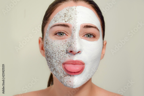The Face Of Woman With A Cosmetic Mask Concept Spa Beauty