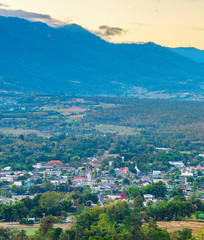 Thai mountain village at sunset