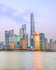 Fototapete - Illuminated Shanghai Downtown at twilight
