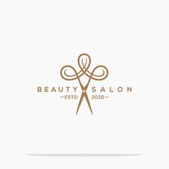 haircut salon logo with scissor vector illustration design